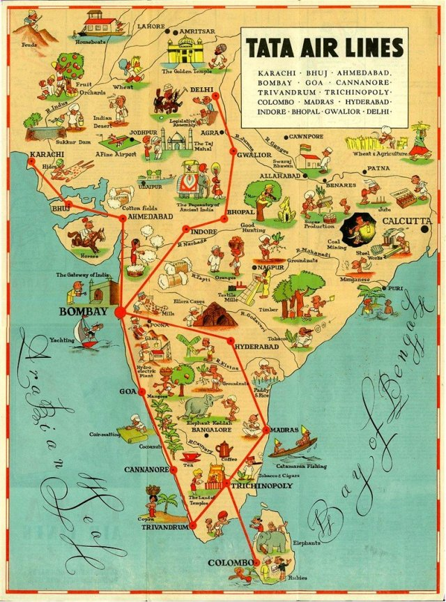 Tata-airlines-1939-pictorial-map-of-cities-covered